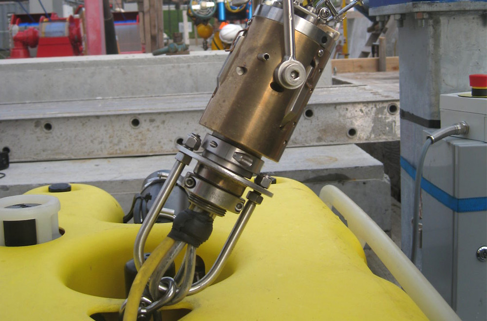 The SeaView Systems Recovery Latch is shown on our Seaeye Falcon ROV.