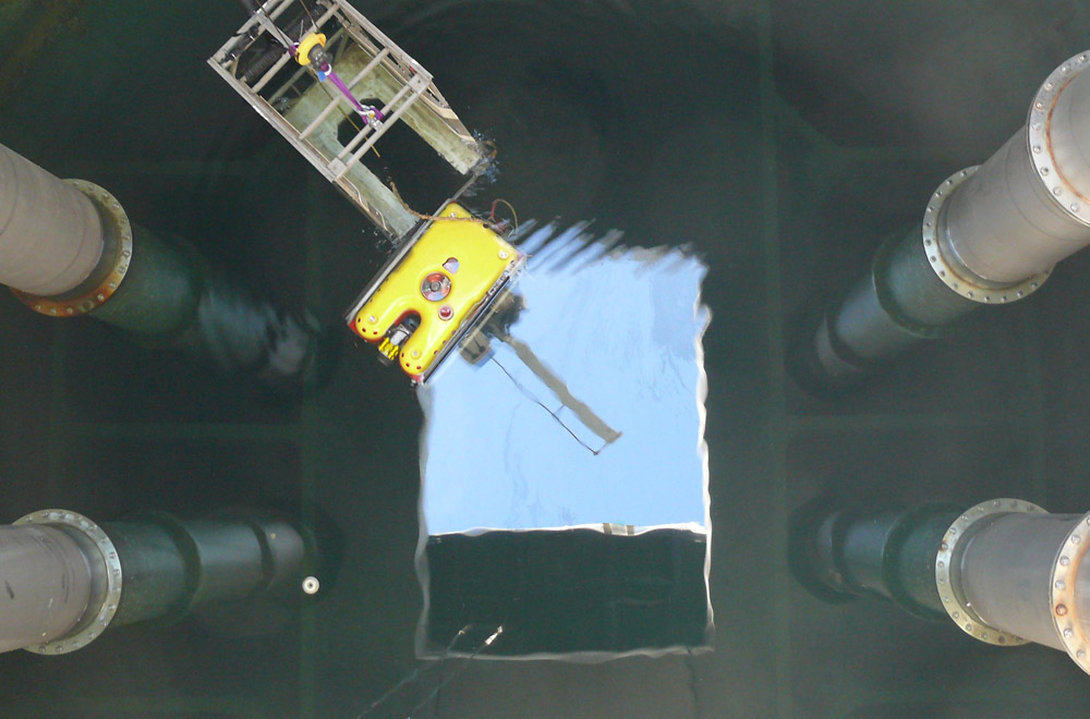 SeaView's Falcon DR is shown about to descend the GCDA intake shaft to perform Australia's longest tunnel penetration.
