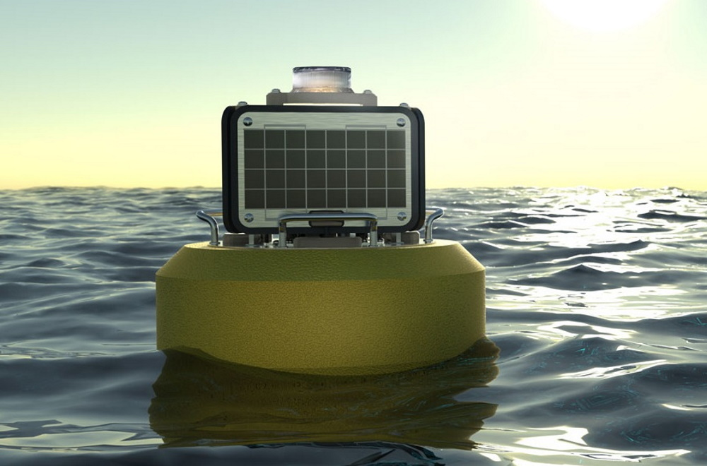 A NexSens CB-25 data buoy, featuring the SeaView SVS-603HR wave sensor, is shown in one of the Great Lakes.